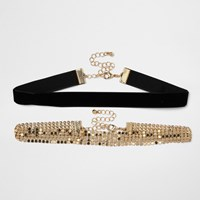River Island Womens Black And Gold Tone Chainmail Choker Pack