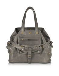 Jerome Dreyfuss Billy Medium Gray Leather Tote Bag