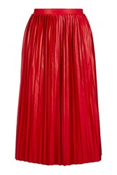 Topshop Jersey Pleated Midi Skirt Red