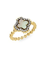 Freida Rothman Harlequin Grey Mother Of Pearl And 14K Vermeil Clover Ring Gold
