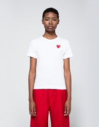 Comme Des Garcons Red Heart Play T Shirt White