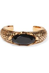 Saint Laurent Burnished Gold Plated Crystal Cuff