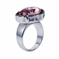 Nadia Minkoff Crystal H Ring Antique Pink Silver Pink Purple