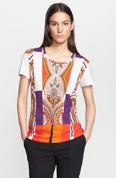 Etro Print Cotton Tee Red