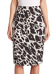 Escada Marble Print Pencil Skirt Multicolor