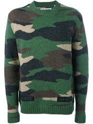 Off White Camouflage Sweater Green
