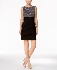 Connected Petite Tiered Sequined Sheath Dress Silver Black