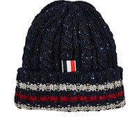 Thom Browne Men's Flecked Cable Knit Wool Beanie Navy