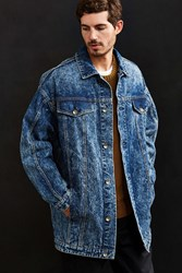 Bdg Longline Relaxed Denim Trucker Jacket Rinsed Denim