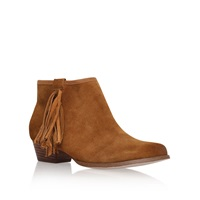 Miss Kg Sassy Low Block Heel Fringed Ankle Boots Tan
