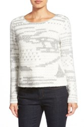 White Warren Hand Crochet Front Sweater Gray