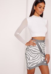 Missguided Premium Zebra Print Asymmetric Bandage Skirt Multi Animal Print