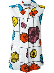 Moschino Floral Print Sleeveless Blouse White