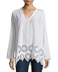 Johnny Was Shirred Yoke Embroidered Eyelet Tunic White