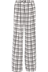 Marissa Webb Erika Plaid Silk Crepe Wide Leg Pants White