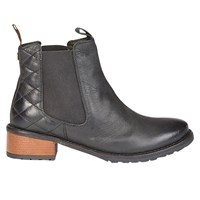 Barbour Latimer Block Heeled Ankle Boots Black Leather