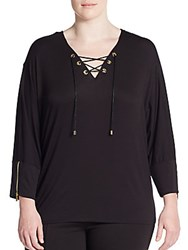 Calvin Klein Plus Size Lace Up Dolman Sleeve Top Black
