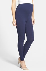 Women's Japanese Weekend Over The Belly Maternity Leggings Navy
