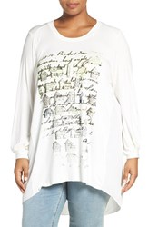 Melissa Mccarthy Seven7 Plus Size Women's Graphic Print High Low Mixed Media Tee