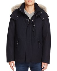Marc New York Fremont Fur Trim Hooded Coat Heathered Ink