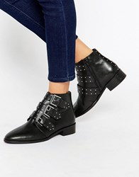 Asos Ashleigh Leather Studded Lace Up Boots Black