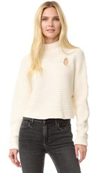 Alexander Wang Mock Neck Cropped Pullover Bone