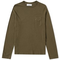 Officine Generale Long Sleeve Garment Dyed Pocket Tee Green