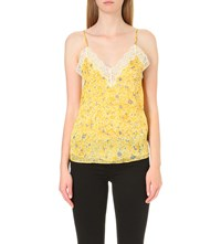 The Kooples Lace Detail Silk Chiffon Top Yellow