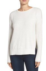 Trouve Women's Asymmetrical Hem Sweater White Snow