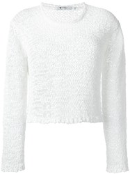 T By Alexander Wang Open Knit Jumper White