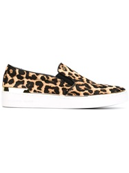 Michael Kors Leopard Print Slip On Sneakers Nude And Neutrals