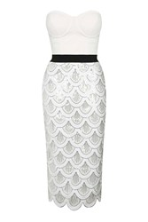 Scallop Sequin Bustier Midi By Rare White