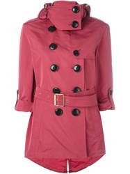 Burberry Brit Double Breasted Short Raincoat Pink And Purple