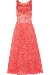 Marchesa Notte Embroidered Tulle Gown Coral