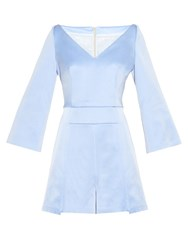 Galvan V Neck Satin Playsuit Blue