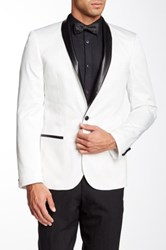 Edge By Wd.Ny White Single Button Faux Leather Lapel Dinner Jacket