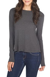 1.State Twist Back Knit Tee Graphite Heather