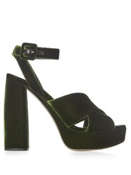 Miu Miu Velvet Block Heel Platform Sandals Dark Green