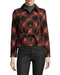 Raison D'etre Belted Peplum Plaid Print Long Sleeve Coat Red Plaid
