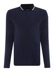 Religion Men's Double Tip Collar Longsleeve Polo Navy