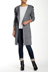 Lulu Hooded Tie Waist Long Cardigan Gray