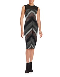 Rachel Roy Chevron Illusion Dress Black Red