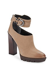 Kenneth Cole Otto Leather Ankle Strap Booties Clay