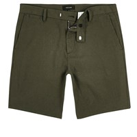 River Island Mens Khaki Slim Fit Bermuda Shorts