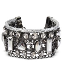 Inc International Concepts Hematite Tone Crystal Woven Cuff Bracelet Only At Macy's Gray