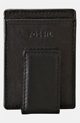 Men's Fossil 'Ingram' Leather Magnetic Money Clip Card Case Black
