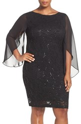 Marina Plus Size Women's Chiffon Sleeve Sequin Lace Sheath Dress Black