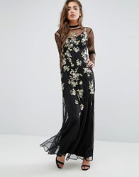 Miss Selfridge Embroidered Floral Maxi Dress Black