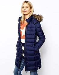 Tommy Hilfiger Hilfiger Denim Long Padded Jacket With Faux Fur Trimmed Hood