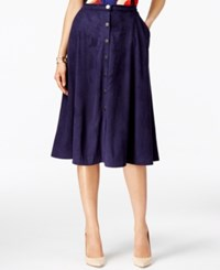 Ny Collection Faux Suede A Line Skirt Evening Blue